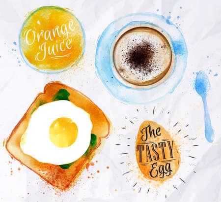 desayuno: Desayuno jugo de huevo tostada Vectores