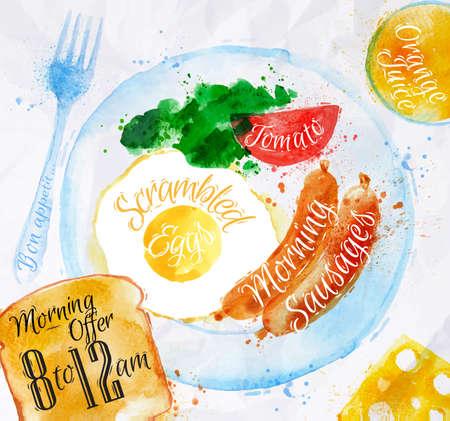 saucisse: Petit-d�jeuner aquarelles saucisses oeufs