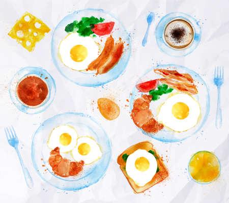 早餐雞蛋設置水彩畫