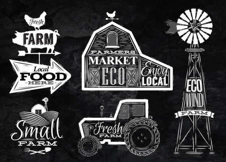 tractor: Farm vintage chalk