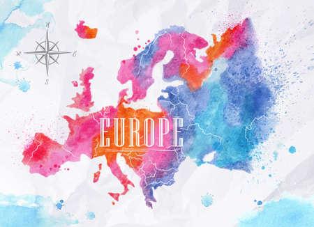 kompas: Akvarel Mapa Evropy růžová modrá