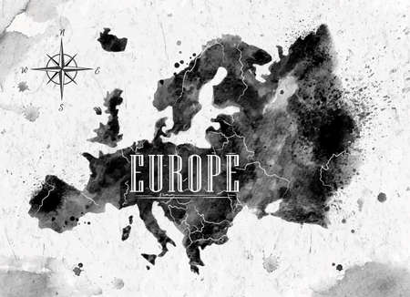 Ink Europe map Ilustracja