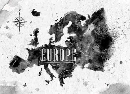 Ink Europe map Stock Illustratie