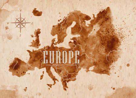 kompas: Mapa Evropy retro Ilustrace