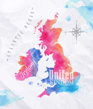 Watercolor map United kingdom and Scotland pink blue 免版税图像 - 32357377