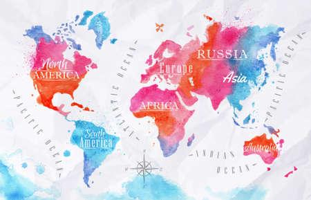 Suluboya dünya haritası pembe, mavi Çizim