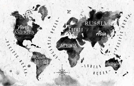 Inchiostro mappa del mondo Archivio Fotografico - 32357381