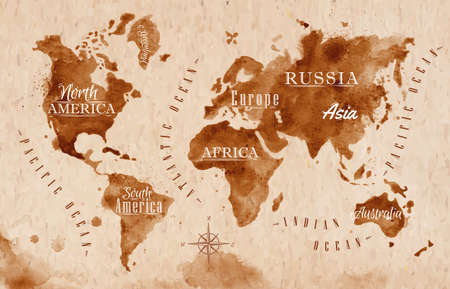 Mappa del mondo retrò mappa Vettoriali
