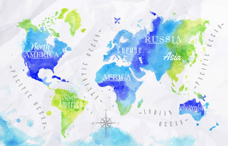 wall maps: Watercolor world map green blue Illustration
