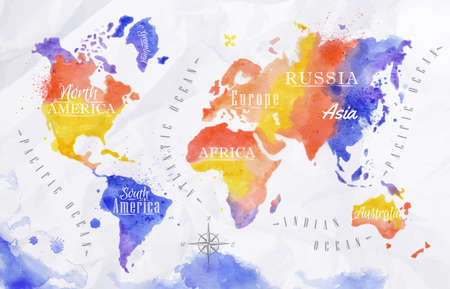Watercolor world map red purple Illustration
