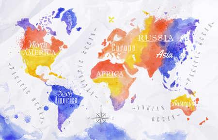 Watercolor world map red purple Ilustração