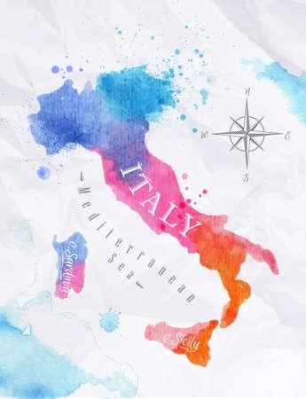 Akvarel mapa Itálie růžová modrá