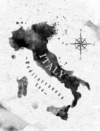 south italy: Ink Italy map