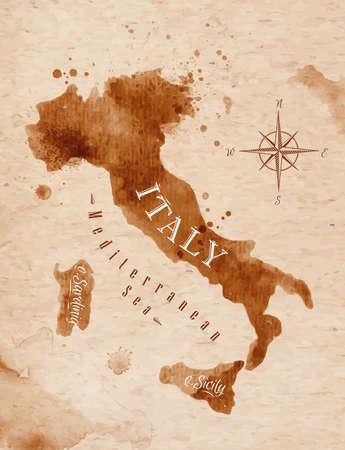 이탈리아 복고풍지도 일러스트