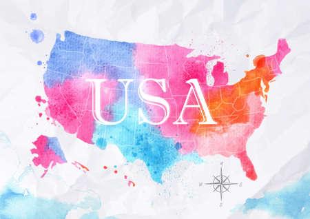 Akvarel mapa Spojené státy růžová modrá