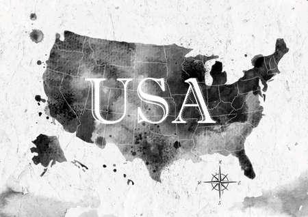 Ink United States map Illustration