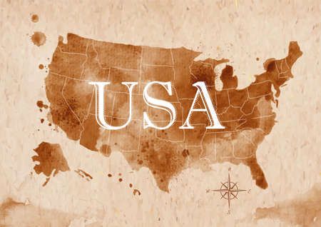 map of usa: Map United States retro Illustration