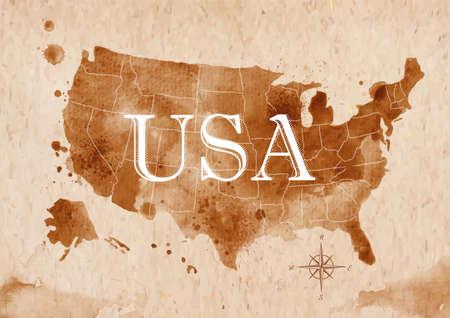 Map United States retro Illustration