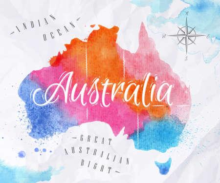 australia: Watercolor map Australia pink blue