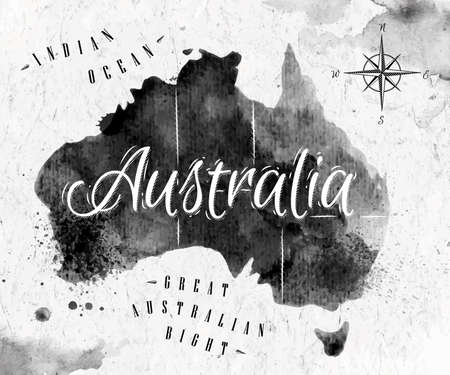 australia: Ink Australia map Illustration