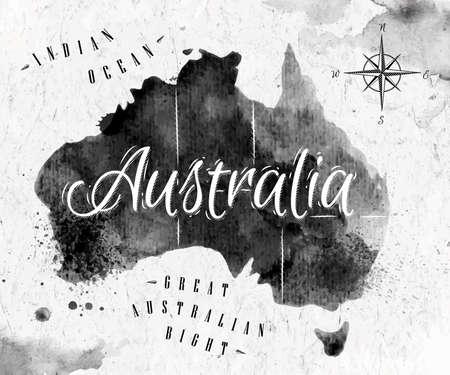 map of australia: Ink Australia map Illustration