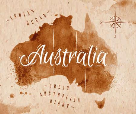 レトロなオーストラリアをマップします。  イラスト・ベクター素材
