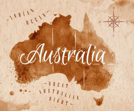 Map Australia retro