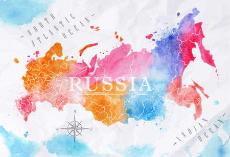 russia map: Watercolor map Russia pink blue