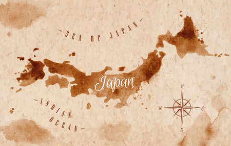Map Japan retro Illustration