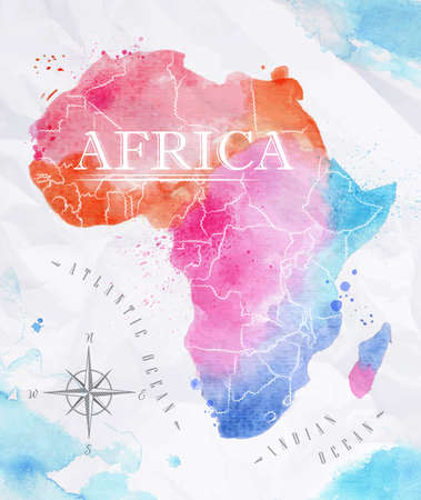 Watercolor map Africa pink blue