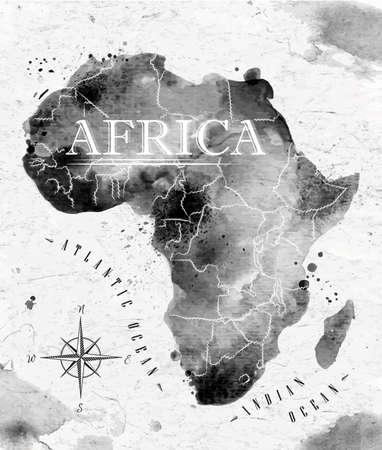 Carte de l'Afrique de l'encre Banque d'images - 32357405