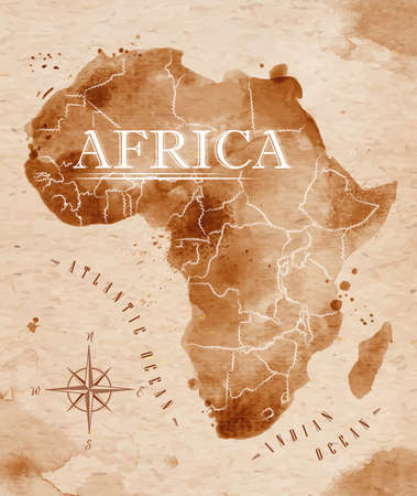 map of africa: Map Africa retro Illustration