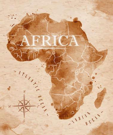 africa map: Map Africa retro Illustration