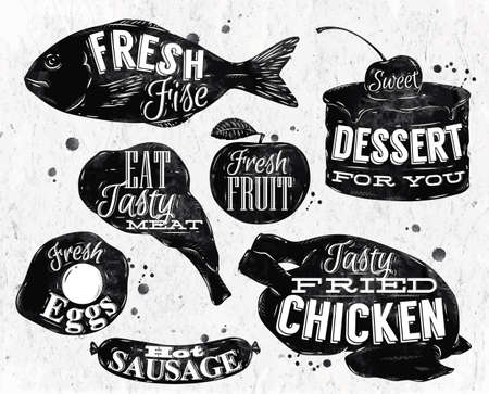 Eat symbol vintage lettering eggs, apple, chicken, cake, fish, meat, sausage photo