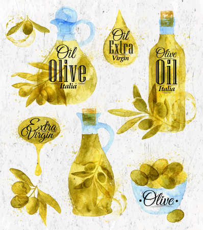 olive oil bottle: Watercolor drawn olive oil retro style