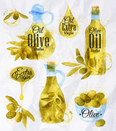 olive oil bottle: Watercolor drawn olive oil