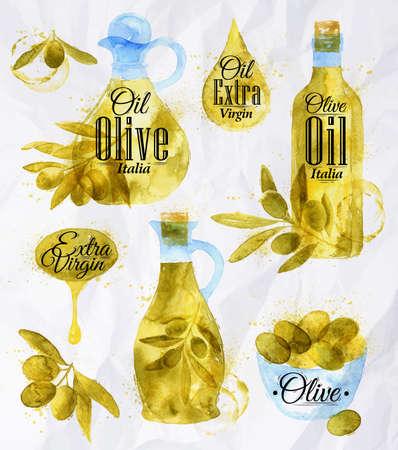 olive oil: Watercolor drawn olive oil