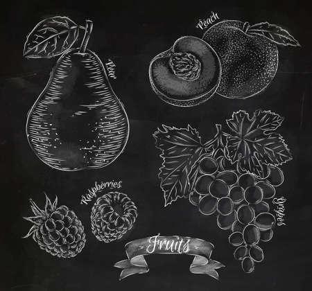 果物、梨、桃、ラズベリー、グレープ チョーク