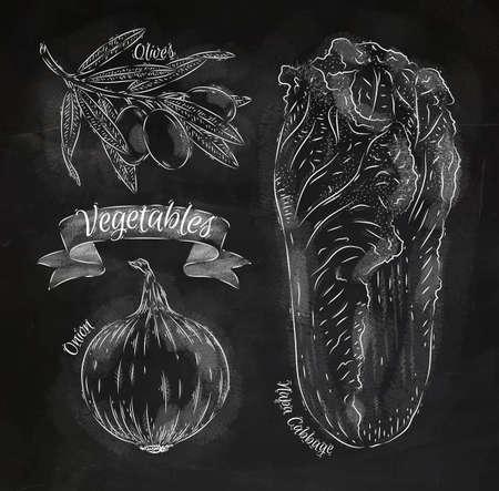 napa: Vegetables onion, napa cabbage, olives chalk