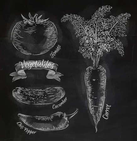 Groenten wortel, tomaat, chili pepers, komkommer krijt