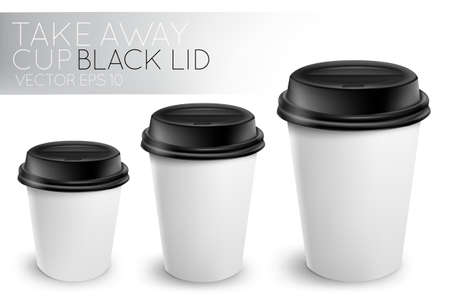 Take away paper cup black cap Çizim