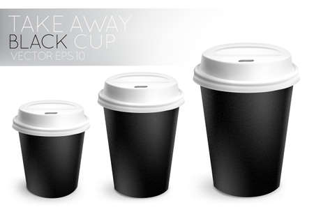 Take away paper cup black Stock Vector - 33261528