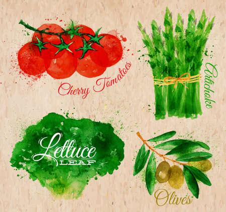 legumes: L�gumes set tir�es taches d'aquarelle et les taches avec une salade de pulv�risation, tomates cerises, asperges, olives sur papier kraft