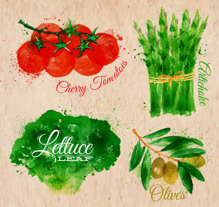 tomatoes: Vegetables set drawn watercolor blots and stains with a spray lettuce, cherry tomatoes, asparagus, olives on kraft paper