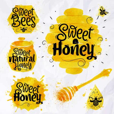 Акварели символов на тему меда соты, улей, точечный, бочонка с надписью сладкий мед, мед натуральный, сладкие пчел Иллюстрация