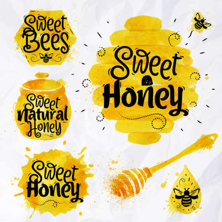 and organic: Watercolors of symbols on the topic of honey honeycomb, beehive, spot, the keg with lettering sweet honey, natural honey, sweet bees