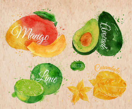 Exotic fruit set drawn watercolor blots and stains with a spray mango, avocado, carambola, lime in kraft