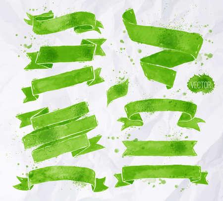 しわくちゃの紙の背景に緑の色のベクトル形式で水彩画リボン