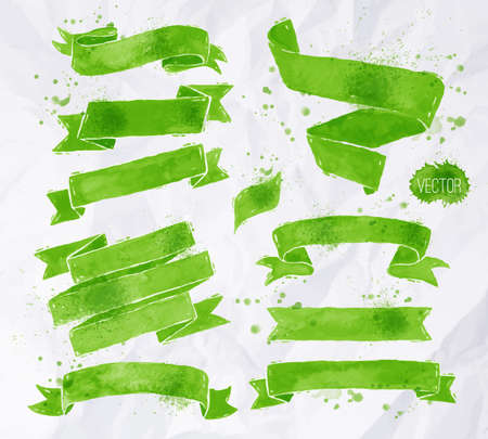 Watercolors ribbons in vector format in green colors on a background of crumpled paper