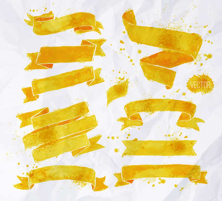 Watercolors ribbons in vector format in yellow colors on a background of crumpled paper